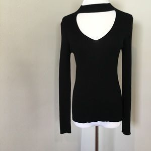 Forever 21 Top Ribbed Chocker Neck L/S Knit